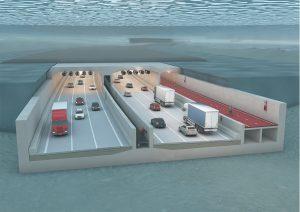 Simulatie nieuwe Scheldetunnel in het kader van de Oosterweelwerken (illustratie copyright Lantis)
